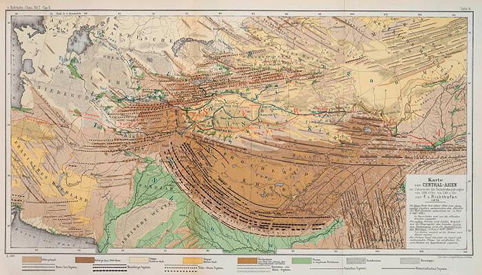 Mapa de las rutas comerciales de Asia Central