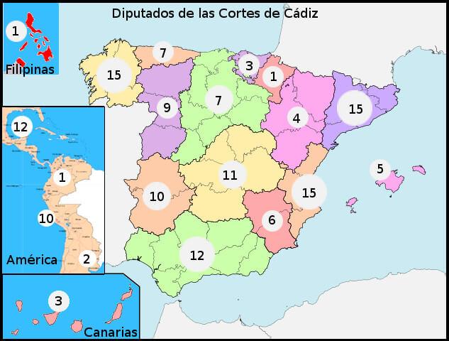 Número de los diputados por territorio en las Cortes de Cádiz