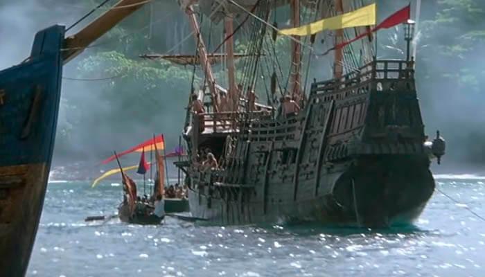 La Niña, la Pinta y la Santa María en una imagen de la película 1492: La conquista del paraíso