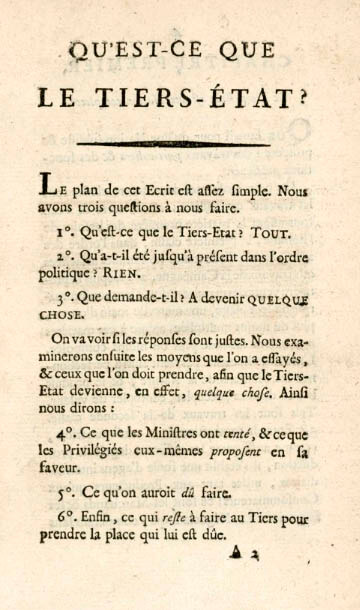 """Fragmento del manuscrito """"¿Qué es el tercer estado?"""""""