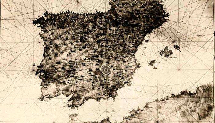 Carta náutica de la península ibérica