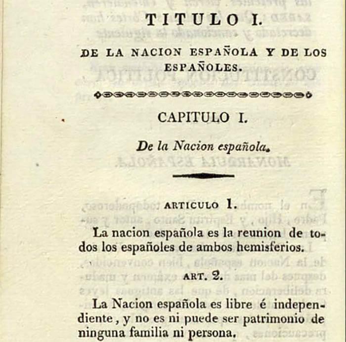 Detalle de un libro que contiene la Constitución de 1812