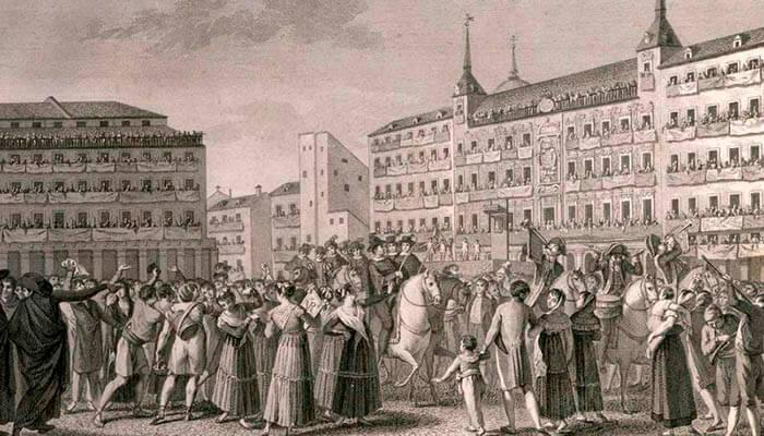 Proclamación de Fernando VII en Madrid en el año 1808.