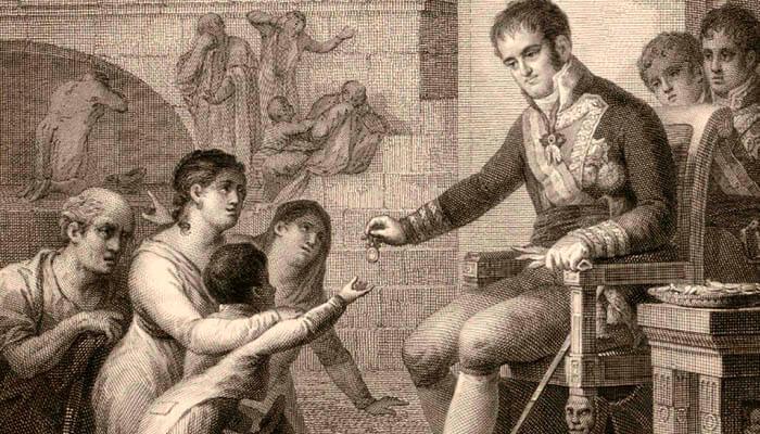 Fernando VII da limosnas a sus vasallos