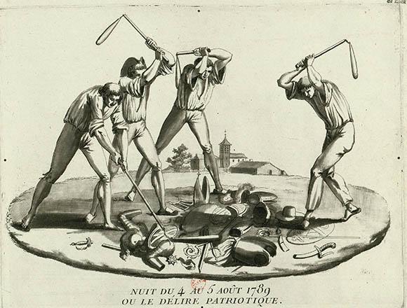 Campesinos golpeando objetos de la nobleza y del clero
