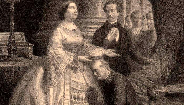 Isabel II de España, Francisco de Asís de Borbón y el general general Leopoldo O'Donnell.