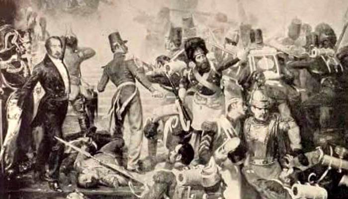 Defensa de la escalera del Palacio Real por los alabarderos.