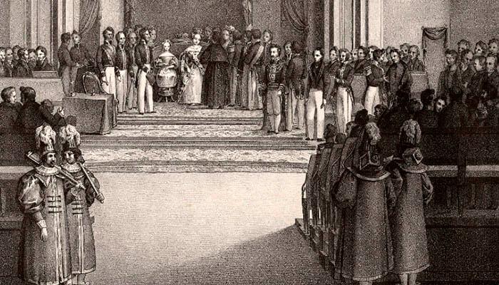 Grabado de Mª Cristina y su hija Isabel II jurando la Constitución.