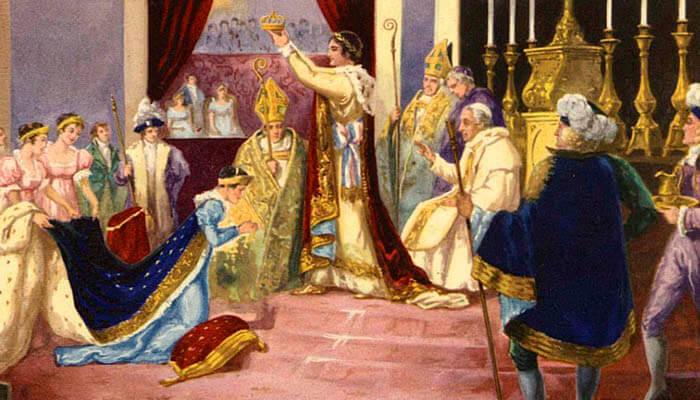 Napoleón Bonaparte en la ceremonia en la que se proclama emperador