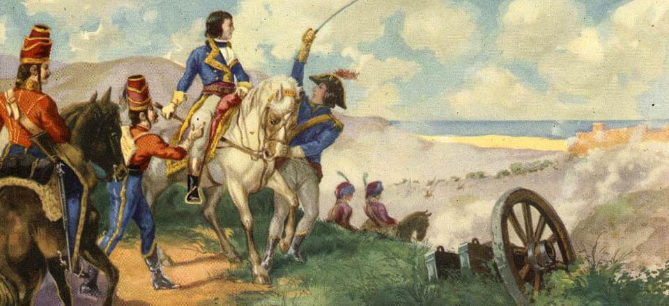 Napoleón Bonaparte muestra su liderazgo en el sitio de Tolón