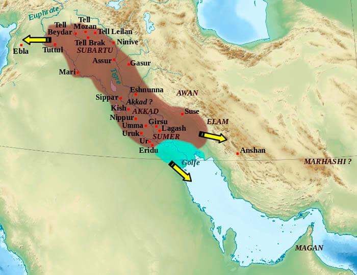 Ubicación geográfica del Imperio acadio