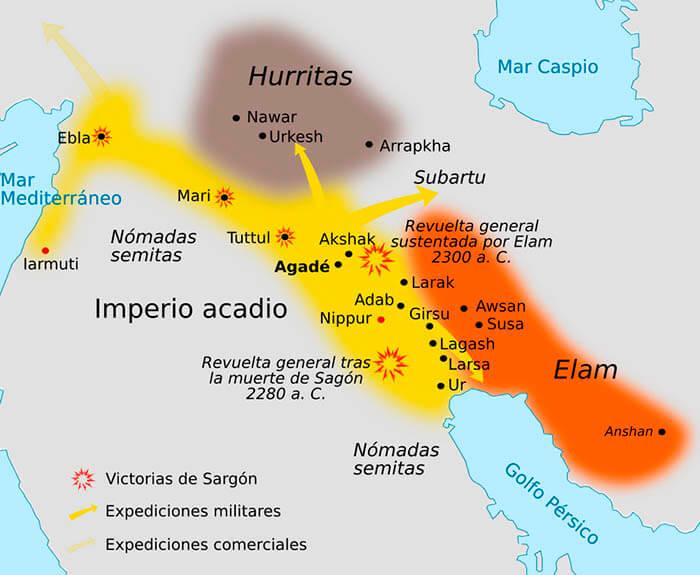 Mapa del Imperio acadio en tiempos de Sargón