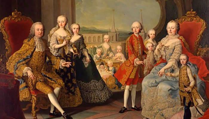 María Teresa I de Austria rodeada de su familia.