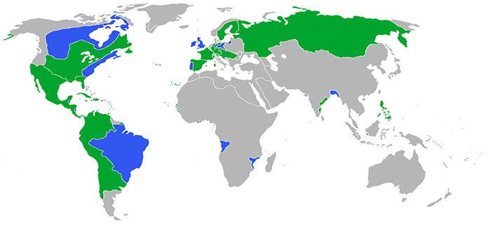 Mapa de los países participantes en la guerra de los Siete Años