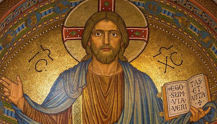 Mosaico de Jesucristo, el fundador de la Iglesia católica.