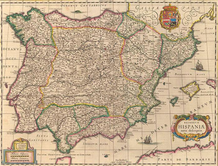 Mapa del reino de España del año 1630.