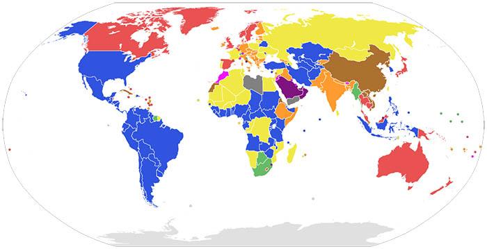 Mapa de las formas de gobierno en el mundo.