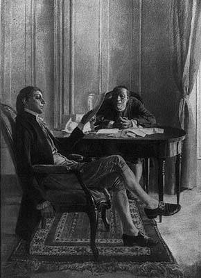 Benjamin Franklin y Richard Oswald negocian el Tratado de París.