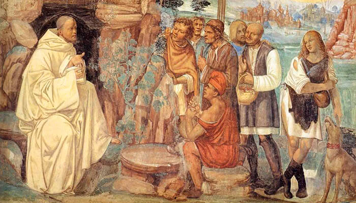 San Benito instruye a los campesinos