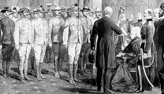 Inspección de soldados coloniales