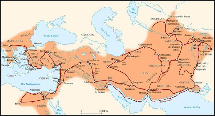 Mapa del Imperio macedónico de Alejandro Magno
