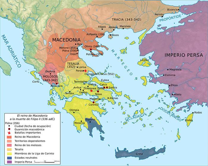 Imagen de un mapa de Macedonia tras el reinado de Filipo II