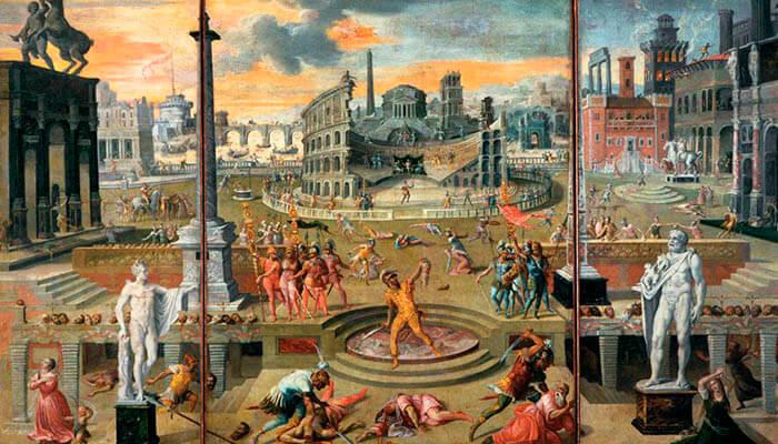 "Imagen del cuadro ""Masacres del triunvirato""."