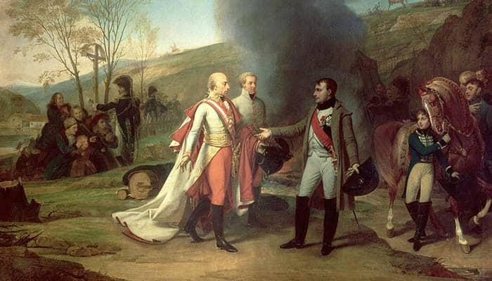 Entrevista de Napoleón y de Francisco II desdepués de la batalla de Austerlitz