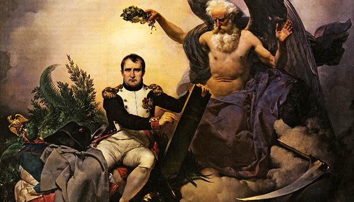Napoleón, coronado por el Tiempo, escribe el Código Civil