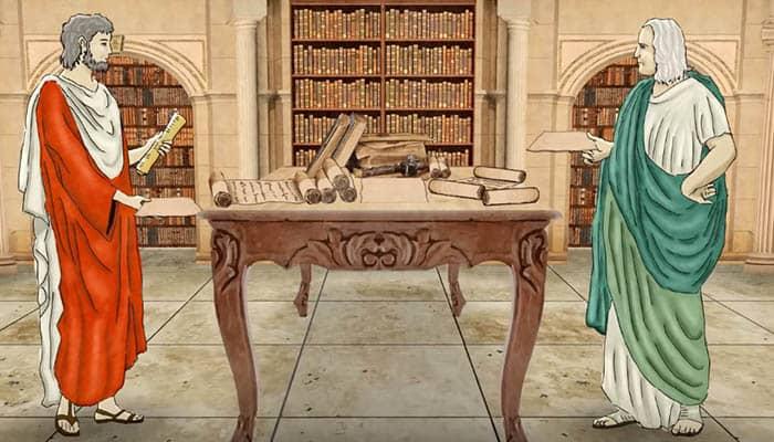 Romanos en una biblioteca