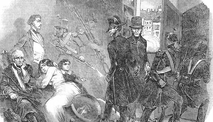 Policías buscan armas en los domicilios particulares durante el golpe de Estado de 1851 en Francia.