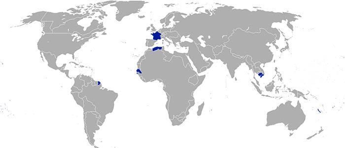 Mapa del Segundo Imperio francés
