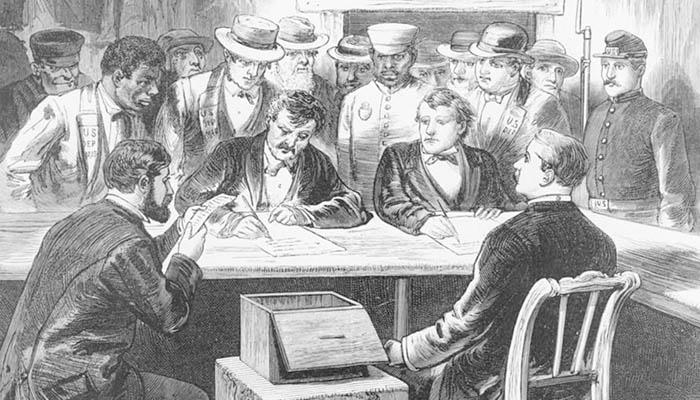 Recontando votos en un sufragio de 1876