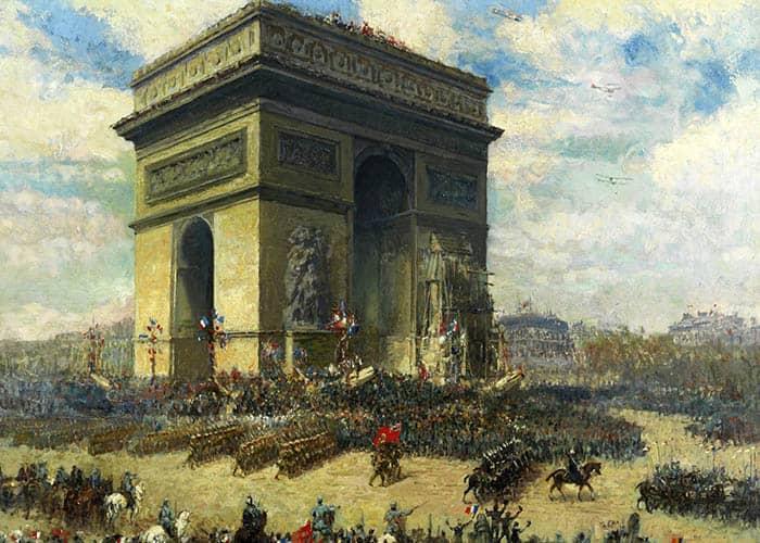 Canadienses desfilando frente al Arco del Triunfo, París