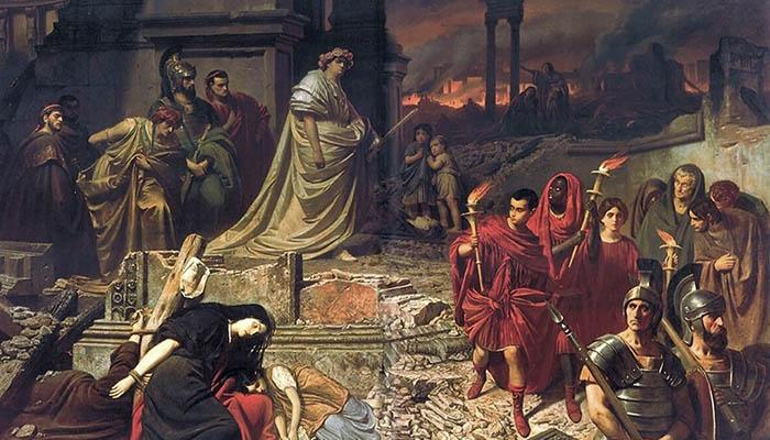 Nerón contempla el incendio de Roma