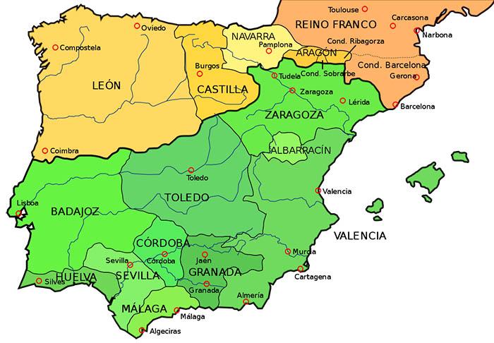 Mapa de la península ibérica en el año 1037