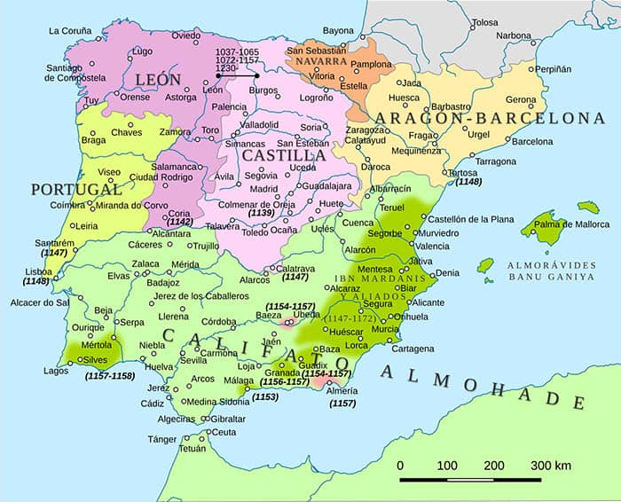Mapa de la península ibérica en el año 1150