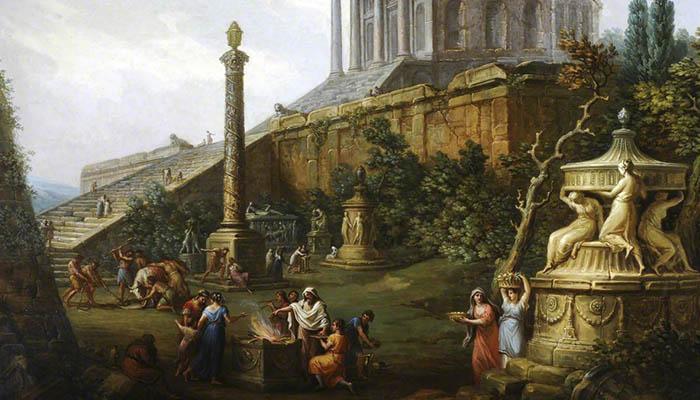 Capricho con un templo pagano y un sacrificio