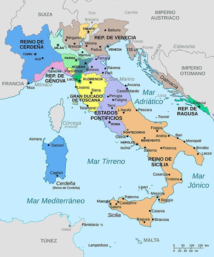Mapa de los estados italianos en 1796