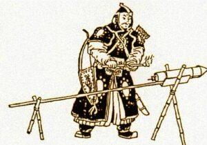 Ilustración de los primeros cohetes chinos.