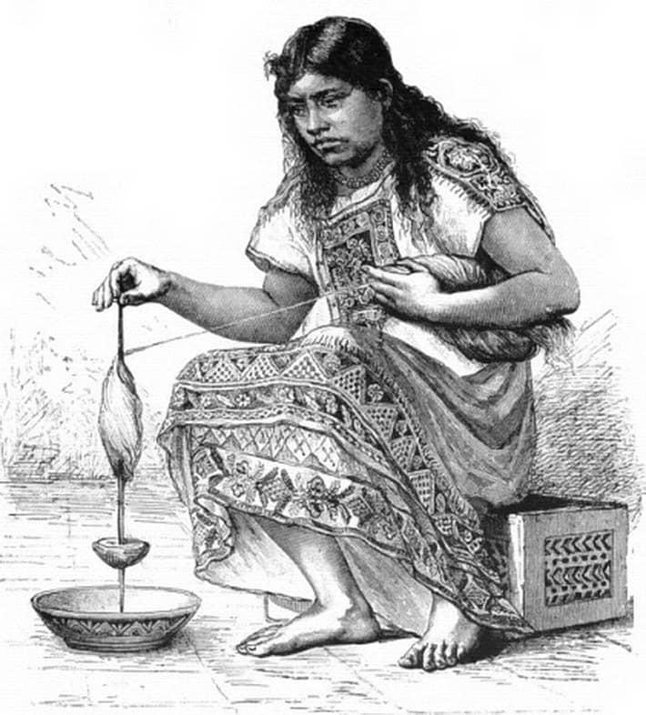 Mujer tolteca hilando algodón