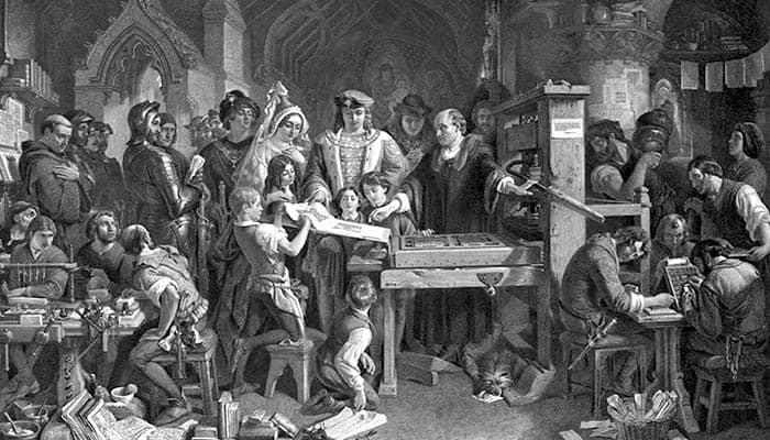 Caxton mostrando el primer ejemplar de su impresión al rey Eduardo IV