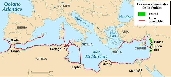 Mapa de las rutas comerciales de los fenicios