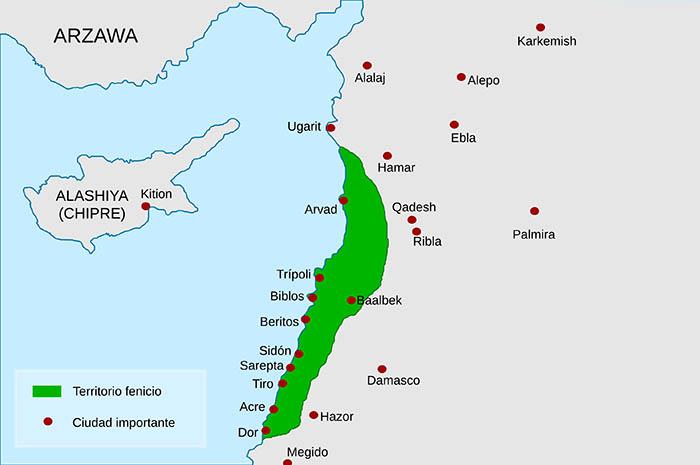 Mapa de Fenicia