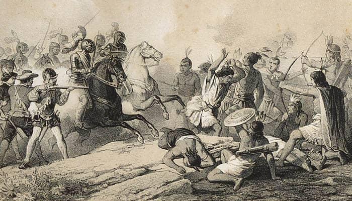 Hernán Cortés en la batalla de Centla