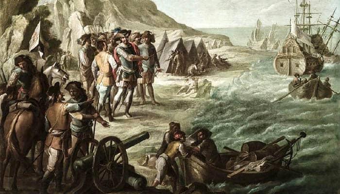 Hernán Cortés llegando a México