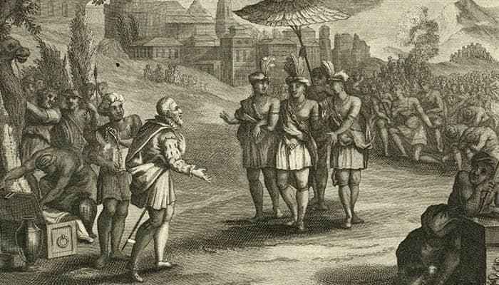 Hernán Cortés conoce a Moctezuma en Tenochtitlan