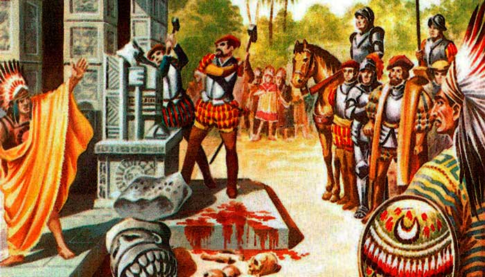 Hernán Cortés destruye ídolos cempoalenses