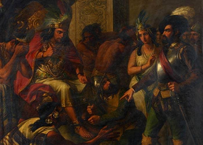 Hernán Cortés, el célebre conquistador de Méjico, entra con la intérprete doña Marina y tres o cuatro de sus capitanes en el aposento de Moctezuma, y con imperio y resolución le manda poner unos grillos