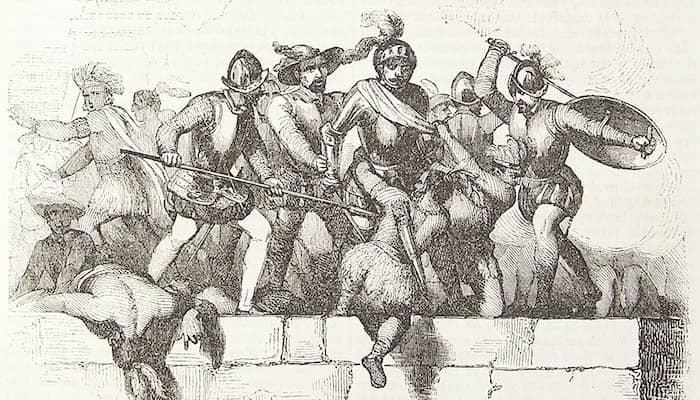 Hernán Cortés en el ataque del adoratorio
